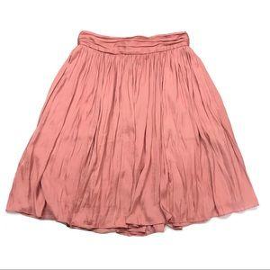 J. Crew Point Sur Pink Pleated Crinkled Midi Skirt